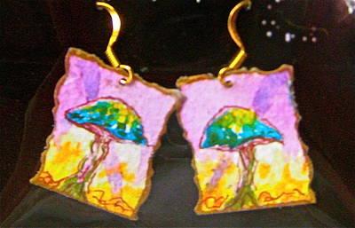 Artisan Jewelry Jewelry - Watercolor Earrings Vibrant Mushrooms by Beverley Harper Tinsley