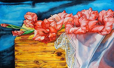 Watercolor Exercise Gladiolas Art Print
