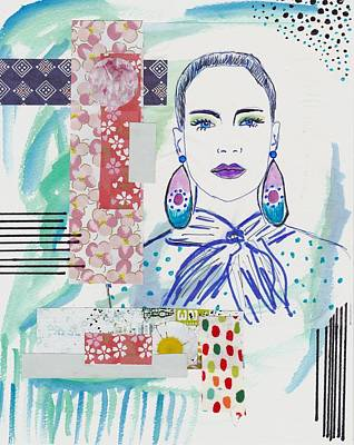Abstract Collage Mixed Media - Watercolor Fashion Girl Collage by Rosalina Bojadschijew