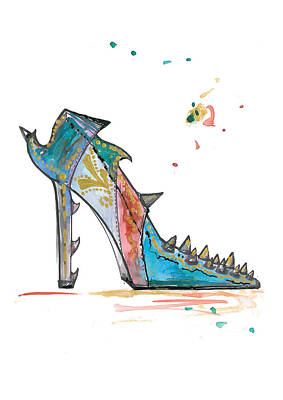 Stiletto Heel Drawing - Watercolor Fashion Illustration Art by Marian Voicu