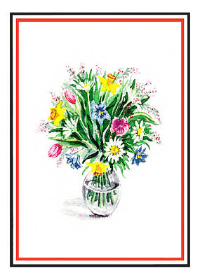 Room Decorating Painting - Watercolor Flowers Bouquet In The Glass Vase by Irina Sztukowski