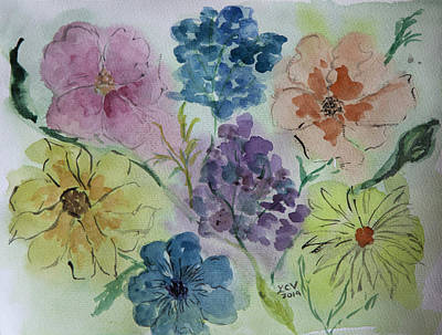Painting - Pastel Flowers by Lucille  Valentino
