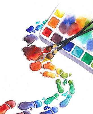 Watercolor Footprints Original by Conni  Reinecke