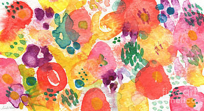 Blue Abstract Painting - Watercolor Garden by Linda Woods
