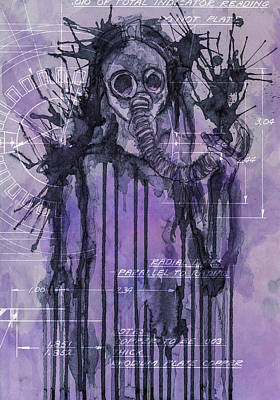 Apocalyptic Digital Art - Watercolor Female Portrait Grunge Gas Mask by Andy Gimino