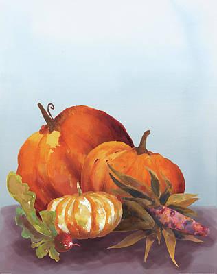 Corn Painting - Watercolor Harvest II by Wild Apple Portfolio