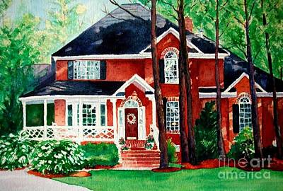 Painting - Watercolor Home Portrait 1 by Kathy Flood