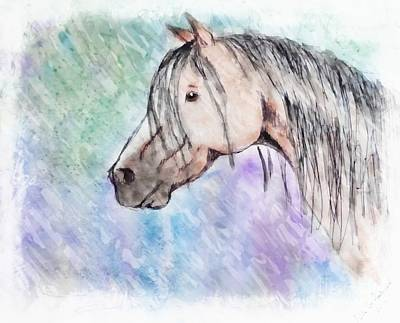 Photograph - Watercolor Horse Head -digital Paint by Debbie Portwood