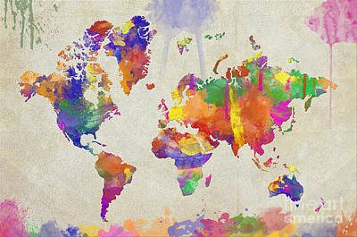 Digital Art - Watercolor Impression World Map by Zaira Dzhaubaeva