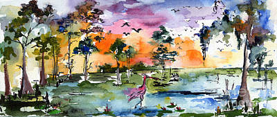 Cypress Swamp Painting - Watercolor Landscape Wetland Nature With Spoonbill by Ginette Callaway