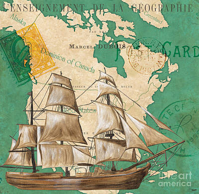 Sailboat Painting - Watercolor Map 2 by Debbie DeWitt