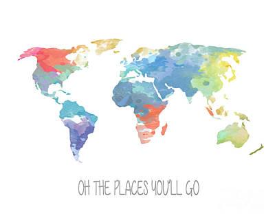World Map Poster Photograph - Watercolor Map by Jennifer Mecca