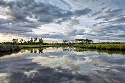 Photograph - Watercolor Marsh And Sky by Alan Raasch