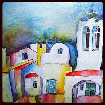 Decorative Photograph - Watercolor Meets Greek Architecture by Jacqueline Schreiber