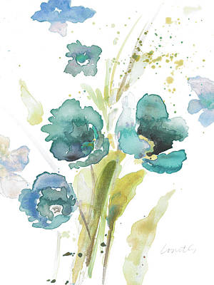 Blue Poppies Painting - Watercolor Modern Blue Poppies by Lanie Loreth