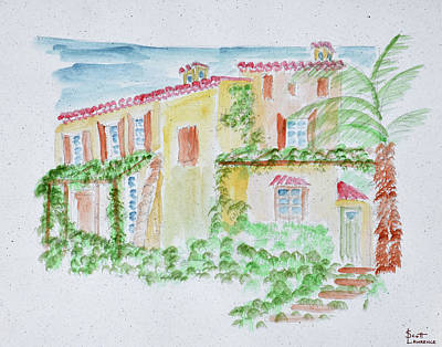 Watercolor Of A Typical French Home Art Print