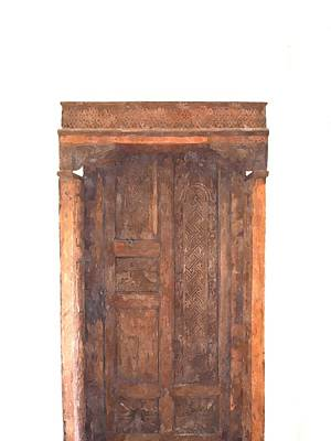 watercolor of antique Moroccan style wooden door on white wall Art Print by Ammar Mas-oo-di