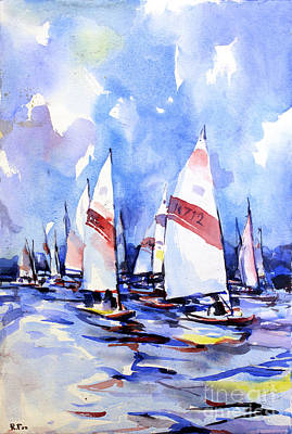 Scow Painting - Watercolor Of Scow Boats Racing Torch Lake Mi by Ryan Fox