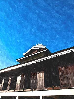 Pai Painting - Watercolor Of Tai Yai Wooden Monastery Architecture On Blue Sky In Mae Hong Son In Thailand by Ammar Mas-oo-di