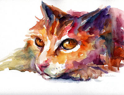 Watercolor Pet Portraits Painting - Watercolor Orange Tubby Cat by Svetlana Novikova