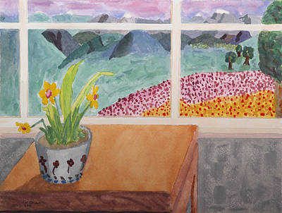 Painting - Watercolor Painting Of A View From A Window by John Orsbun