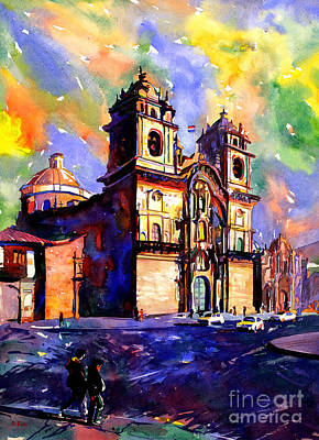 Watercolor Painting Of Church On The Plaza De Armas Cusco Peru Art Print by Ryan Fox