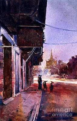 Painting - Watercolor Painting Of Royal Palace Phnom Penh Cambodia by Ryan Fox