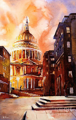 Religious Artist Painting - Watercolor Painting Of St Pauls Cathedral London England by Ryan Fox