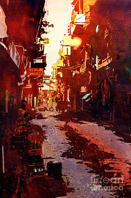 Watercolor Painting Of Street Scene In The Himalayan City Of Pat Original by Ryan Fox