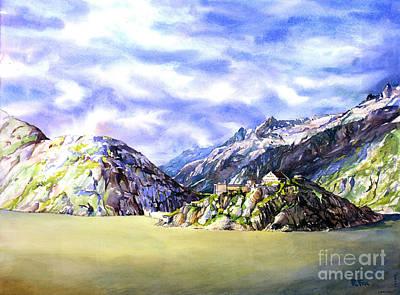 Switzerland Painting - Watercolor Painting Of Swiss Alps At Grimsel Pass Switzerland  by Ryan Fox