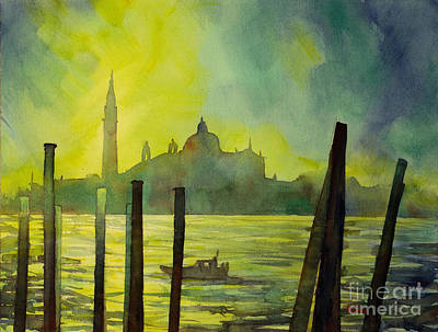 Newton Painting - Watercolor Painting Of The Dome Of San Giorgio Maggiore Church I by Ryan Fox