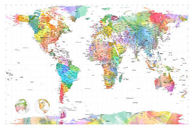 Watercolor Political Map Of The World Art Print by Michael Tompsett