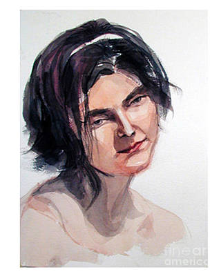 Painting - Watercolor Portrait Of A Young Pensive Woman With Headband by Greta Corens