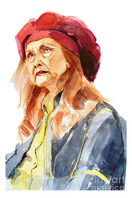 Vintage College Subway Signs Color - Watercolor Portrait of an old lady by Greta Corens