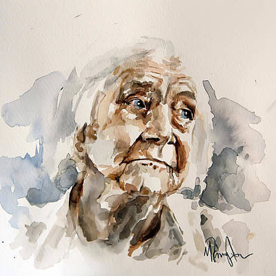 Portraits Painting - Watercolor Portrait Of An Old Woman by Michael Tsinoglou