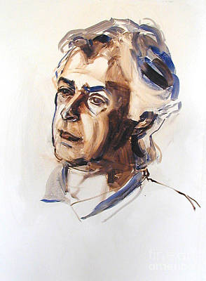 Painting - Watercolor Portrait Sketch Of A Man In Monochrome by Greta Corens