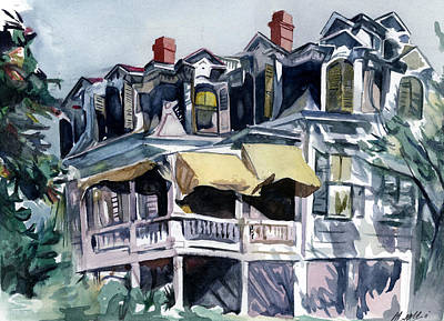 Replica Painting - Watercolor Remake Of The Mansard Roof by Michael  Pattison