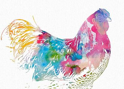 Birds Digital Art Rights Managed Images - Watercolor Rooster Royalty-Free Image by Dan Sproul