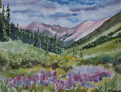 Meadow Willows Painting - Watercolor - San Juans Mountain Landscape by Cascade Colors