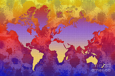 Watercolor Splashes World Map On Canvas Art Print by Zaira Dzhaubaeva