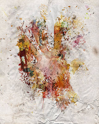 Human Body Hand Watercolor Paint Old Paper Art Print