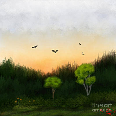Watercolor Sunset 2 Art Print