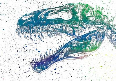Music Figurative Potraits - Watercolor T Rex by Dan Sproul