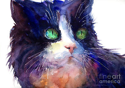 Watercolor Pet Portraits Painting - Watercolor Tuxedo Tubby Cat by Svetlana Novikova