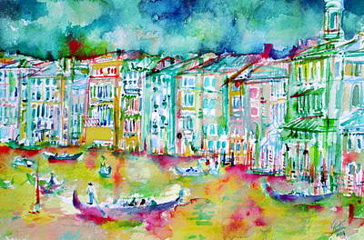 Painting - watercolor VENICE - CANAL GRANDE by Fabrizio Cassetta