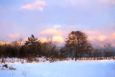 Watercolor Winter - Cold And Colorful Day On The Lake Art Print by Georgia Mizuleva