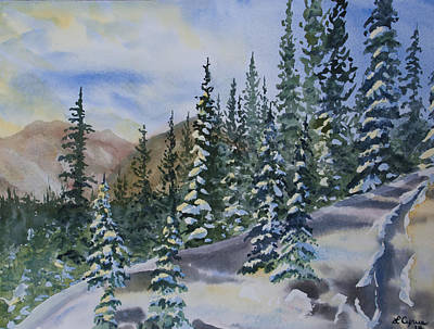 Watercolor - Winter Snow-covered Landscape Art Print