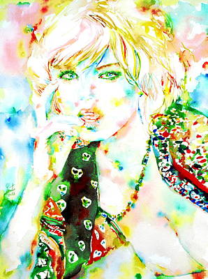 Gold Necklace Painting - Watercolor Woman.3 by Fabrizio Cassetta