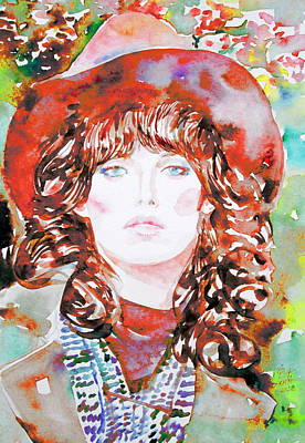 Raincoats Painting - Watercolor Woman.45 by Fabrizio Cassetta
