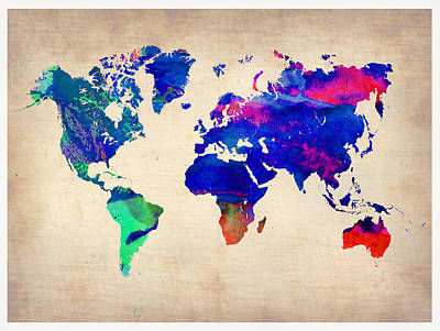 Country Map City Map Painting - Watercolor World Map 1 by Naxart Studio